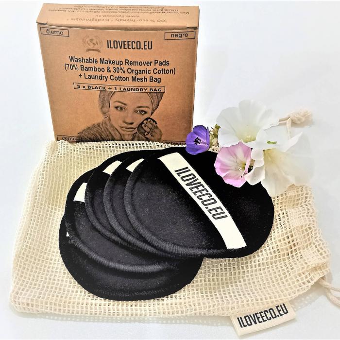 Set dischete demachiante lavabile negre 5 bucăți + 1 săculeț spălare, I Love Eco 0