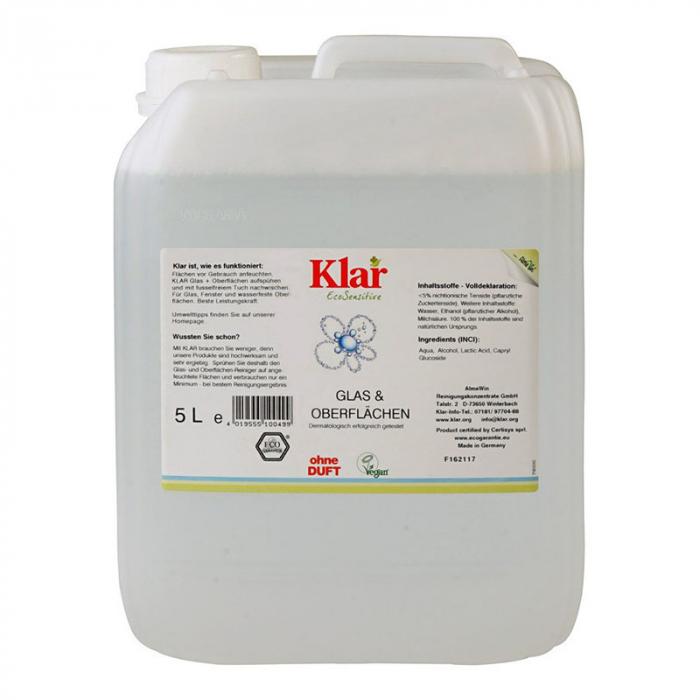 Solutie bio pentru ferestre si alte suprafete, fara parfum, Klar, 5 l [0]