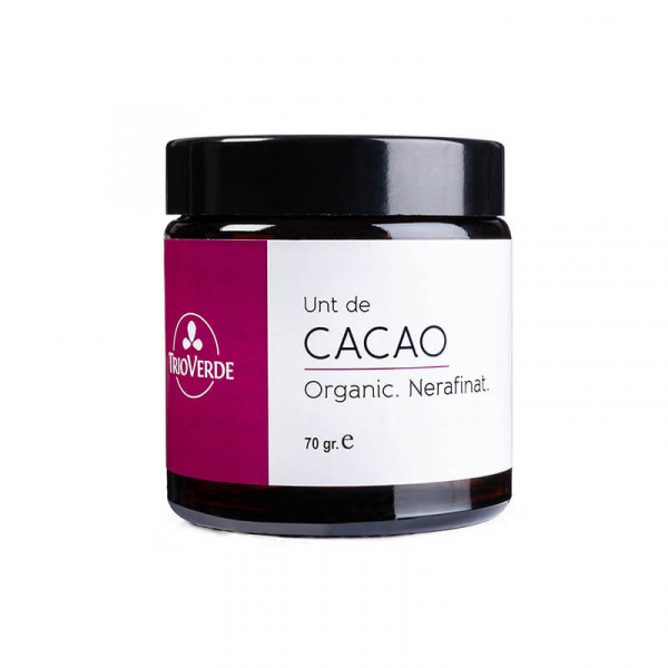 Unt de cacao organic, pellets, nerafinat, Trio Verde, 70g 0