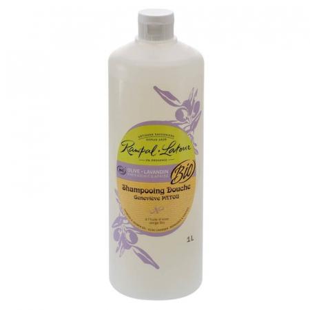 2 în 1 Șampon & gel de duș bio, Măsline și Lavandă | Rampal Latour, 1 litru0