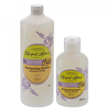 2 în 1 Șampon & gel de duș bio, Măsline și Lavandă | Rampal Latour, 1 litru1