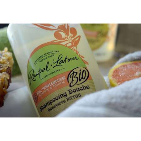 2 în 1 Șampon & gel de duș bio Miere și Grapefruit | Rampal Latour, 1 litru2