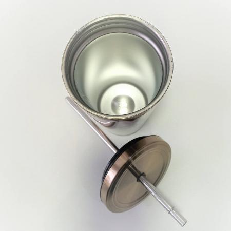 Cană termos din oțel inoxidabil + pai, argintie, 473 ml | Iloveeco1