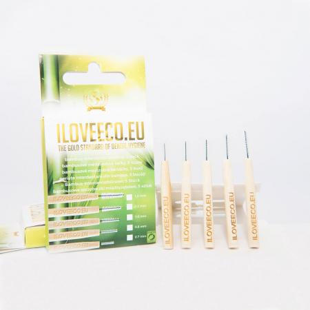 Periuțe interdentare din bambus, cutie cu 5 buc, toate mărimile, I Love Eco3
