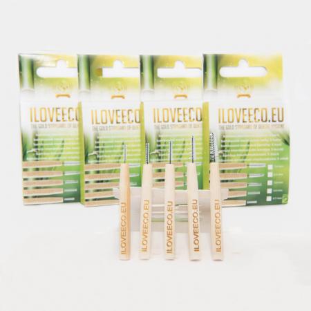 Periuțe interdentare din bambus, cutie cu 5 buc, toate mărimile, I Love Eco2