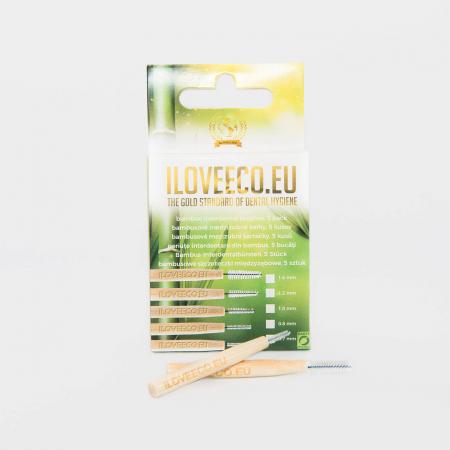 Periuțe interdentare din bambus, cutie cu 5 buc, 0.8 mm, I Love Eco6
