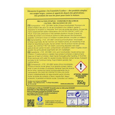 Acid citric monohidrat, detartrant & anticalcar | Ecodoo, 350g1