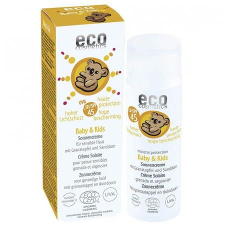 Cremă bio protecție solară minerală bebe și copii, FPS45 | Eco Cosmetics