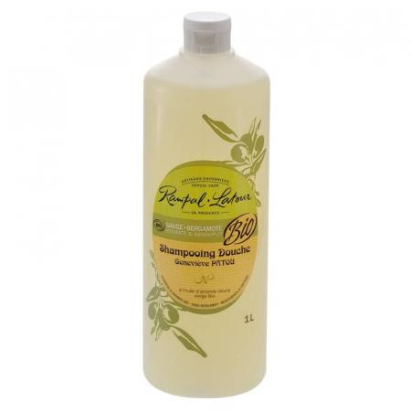 2 în 1 Șampon & gel de duș bio Salvie și Bergamota | Rampal Latour,  1 litru0