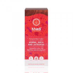 Henna, Amla & Jatropha, vopsea de par naturala - Rosu Mahon, Khadi, 100g0