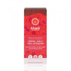 Henna, Amla & Jatropha, vopsea de par naturala - Rosu Mahon, Khadi, 100g1
