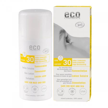 Lotiune fluida de protectie solara cu goji si rodie, FPS 30, Eco Cosmetics, 100ml0