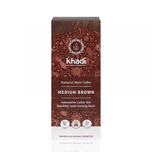 Medium Brown, vopsea de par naturala - Saten Mediu, Khadi, 100g