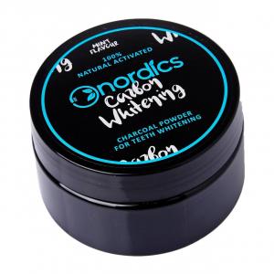 Carbune activ pudra pentru albirea dintilor, aroma de menta, 150 de folosiri, Nordics0