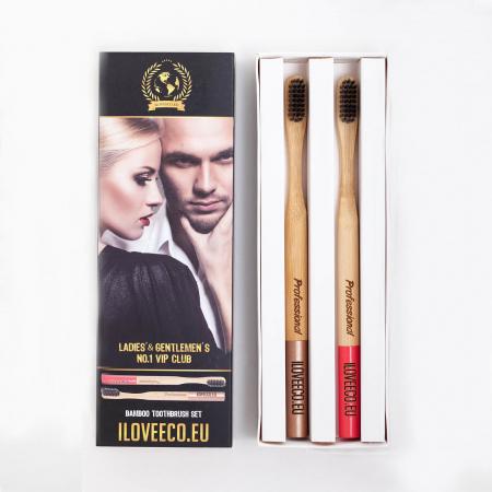 Periuță de dinți din bambus, Professional, pachet dublu | Iloveeco0