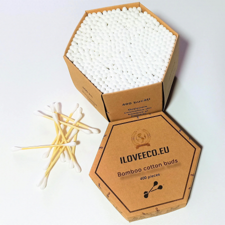 Bețișoare csometice din bambus și bumbac - cutie XXL 400 bucăți | Iloveeco4
