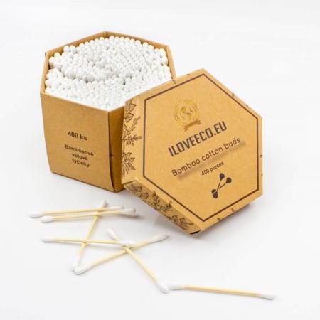 Bețișoare urechi din bambus și bumbac - cutie XXL 400 bucăți, I Love Eco2