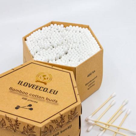 Bețișoare urechi din bambus și bumbac - cutie XXL 400 bucăți, I Love Eco3