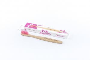 Periuta de dinti din bambus, pentru copii, Nordics - roz1