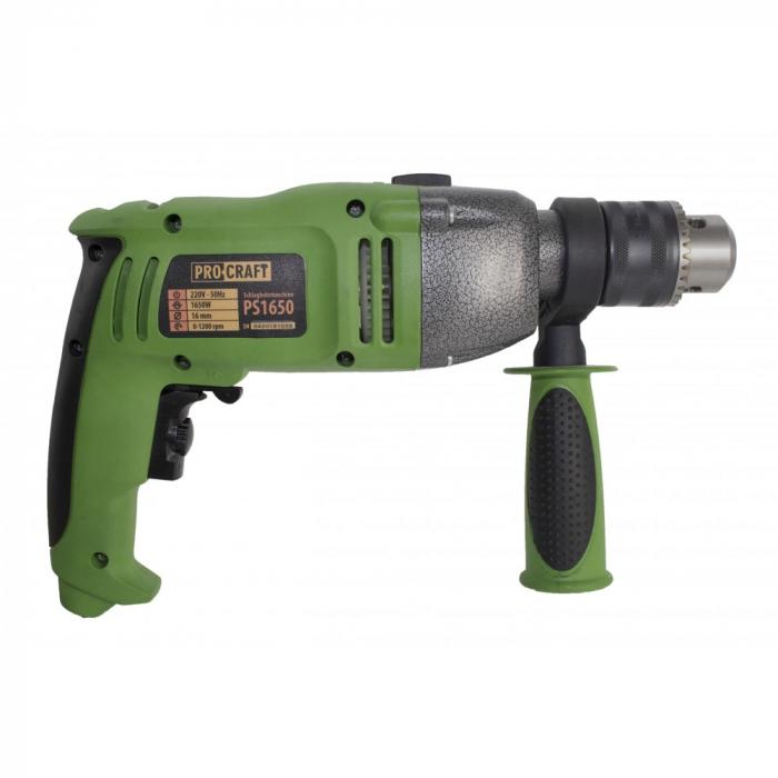 Bormasina cu percutie ProCraft PS1650, 1650W, 16mm, 3200rpm, produsul contine taxa timbru verde 2.5 Ron, 3.23 kg [2]