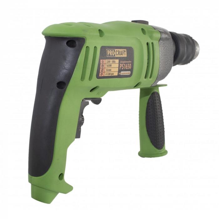 Bormasina cu percutie ProCraft PS1650, 1650W, 16mm, 3200rpm, produsul contine taxa timbru verde 2.5 Ron, 3.23 kg [3]