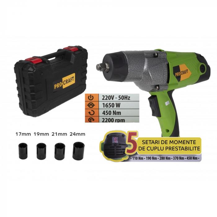 Pistol electric cu impact, Procraft ES1650, 1650W, 450Nm, produsul contine timbru verde 2.5 Ron [0]