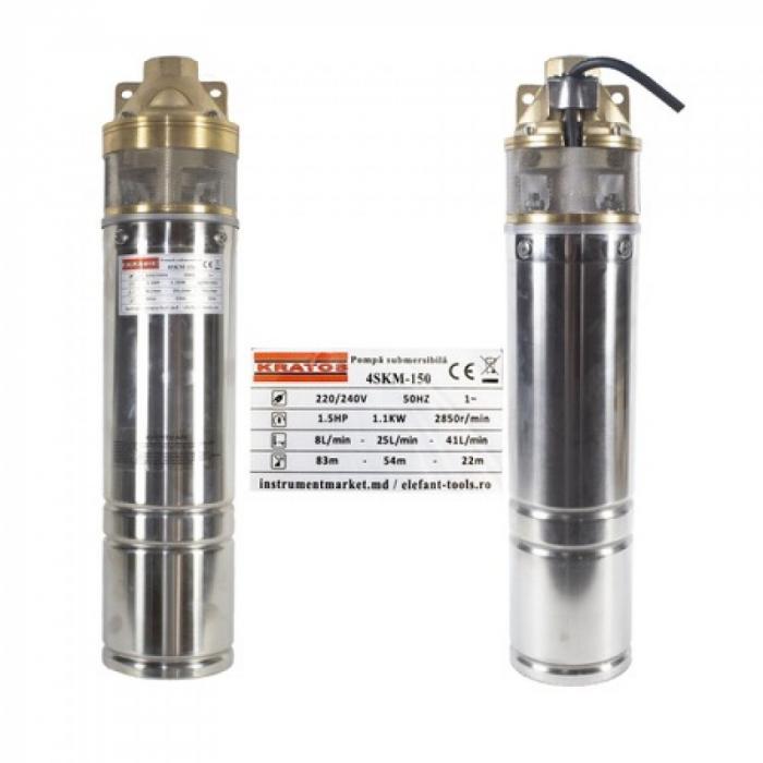 Pompa submersibila Kratos 4SKM-150, 1.5 CP, 41l/min, Turbina dubla, Cupru, produsul contine taxa timbru verde 2,5 Ron, 12,73 kg [2]