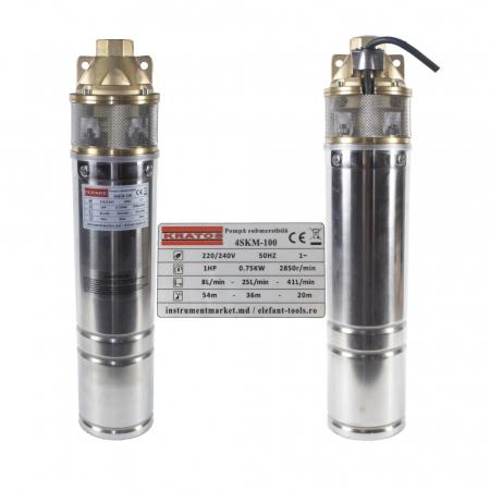 Pompa submersibila Kratos 4SKM-100, 0.75 CP, 41l/min, Turbina dubla, Cupru, produsul contine taxa timbru verde 2,5 Ron, 10 kg [3]