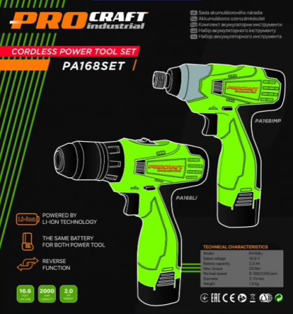 Set autofiletanta Procraft PA168 cu acumulator si pistol cheie cu impact cu acumulator Procraft [1]