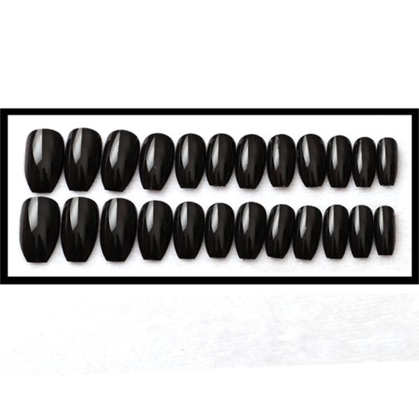 Set 24 unghii false autoadezive tip cu adeziv, tipsuri balerina, cu model glossy Negru 1