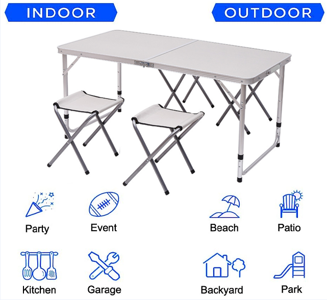 Set masa camping Klept, pliabila, cu 4 scaune, Albastru [6]