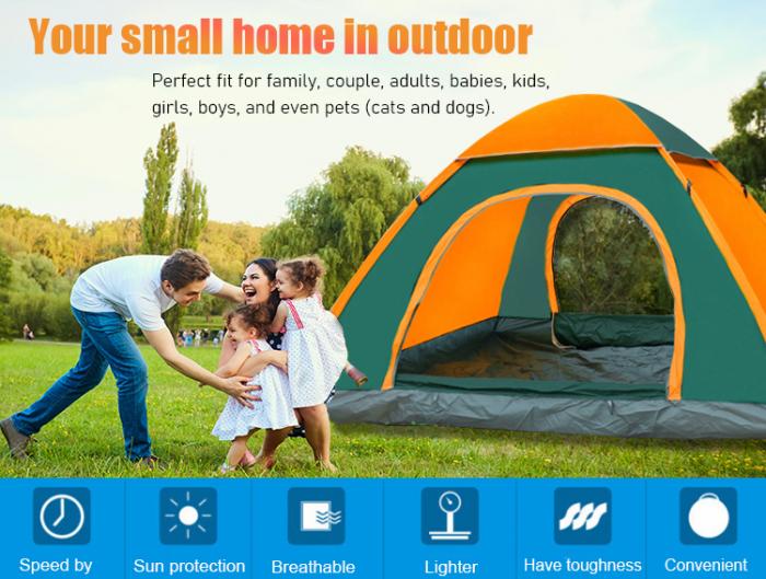 Cort de camping, Klept, Verde si portocaliu, 3-4 persoane, dimensiuni 210 x 210 x 130 cm 1