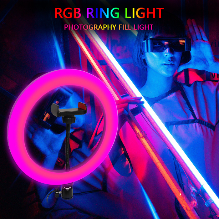 Lampa circulara Ring Light, RGB lumini, 58 x LED SMD 10, 50 W, trepied inclus 3