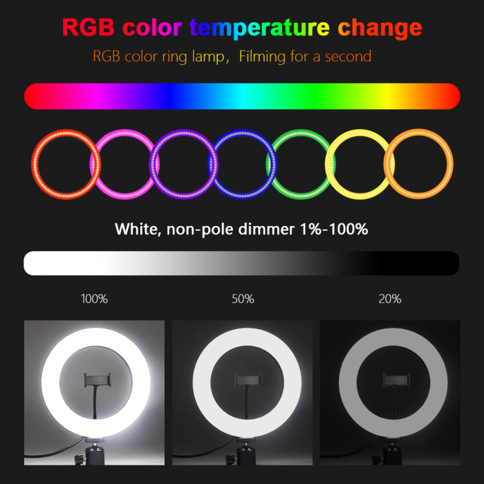Lampa circulara Ring Light, RGB lumini, 58 x LED SMD 10, 50 W, trepied inclus 4