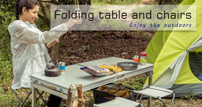 Set masa camping Klept, pliabila, cu 4 scaune, Albastru [8]