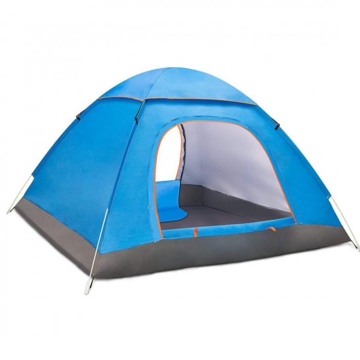 Cort de camping, Klept, Albastru, 3-4 persoane, dimensiuni 125 x 185 x 110 cm 1
