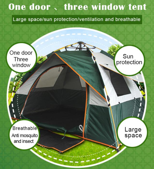 Cort de camping automat Verde, Klept, 2-3 persoane, dimensiuni 190 x 190 x 130 cm 3