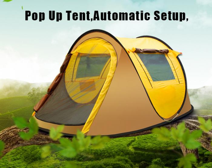 Cort de camping automat, Klept, Galben si Gri, 3 persoane, dimensiuni 245 X 150 X 105 cm - Copie [1]