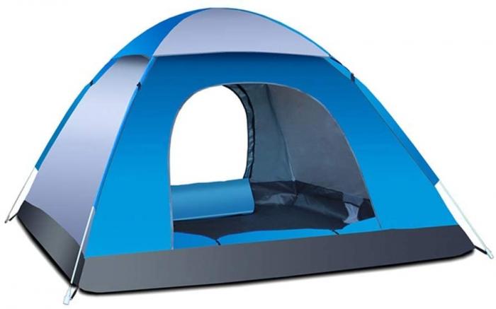 Cort de camping, Klept, albastru si argintiu, 3-4 persoane, dimensiuni 210 x 210 x 130 cm 0