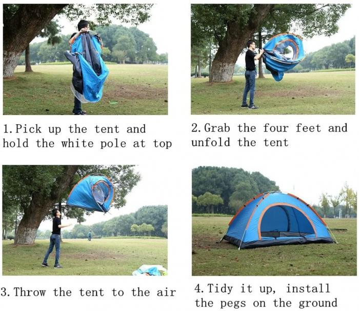 Cort de camping, Klept, albastru si argintiu, 3-4 persoane, dimensiuni 210 x 210 x 130 cm 5