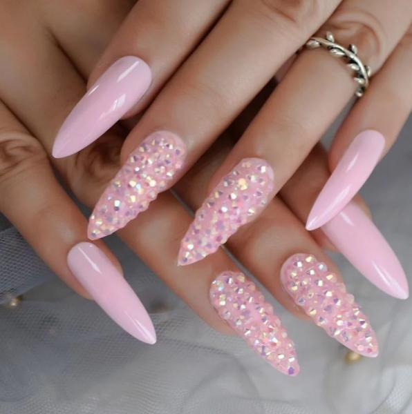 Set 24 unghii false autoadezive tip cu adeziv, tipsuri balerina, cu model Roz Diamond Studs 0