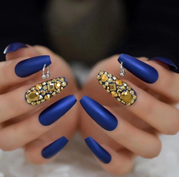 Set 24 unghii false autoadezive tip cu adeziv, tipsuri balerina, cu model Albastru mat Dimond [0]
