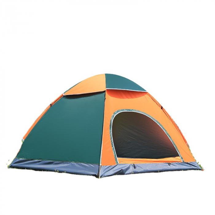 Cort de camping, Klept, Verde si portocaliu, 3-4 persoane, dimensiuni 210 x 210 x 130 cm 0