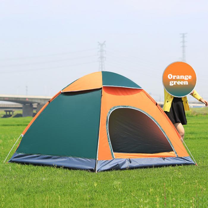 Cort de camping, Klept, Verde si portocaliu, 3-4 persoane, dimensiuni 210 x 210 x 130 cm 3