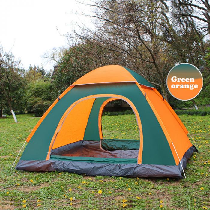 Cort de camping, Klept, Verde si portocaliu, 3-4 persoane, dimensiuni 210 x 210 x 130 cm 4