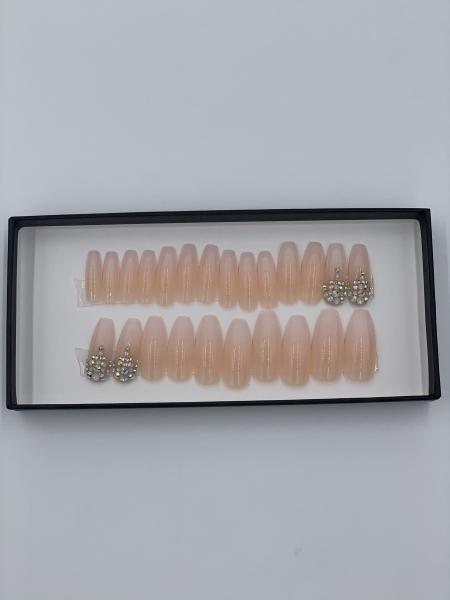 Set 24 unghii false autoadezive tip cu adeziv, tipsuri balerina, cu model Nude Dimond Ombre 1