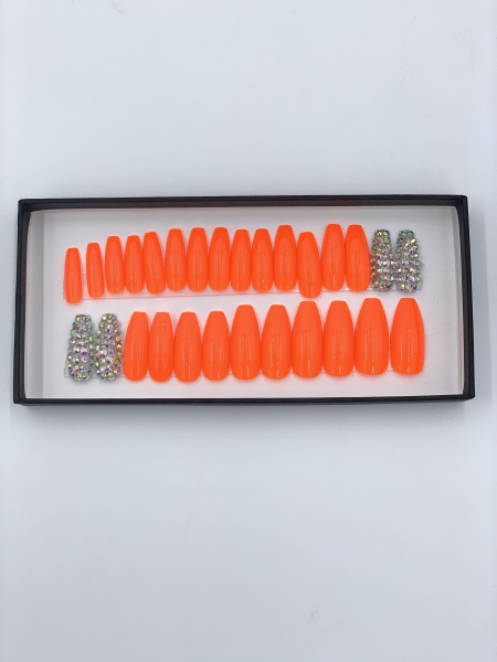 Set 24 unghii false autoadezive tip cu adeziv, tipsuri balerina, cu model Portocale Dimond 1