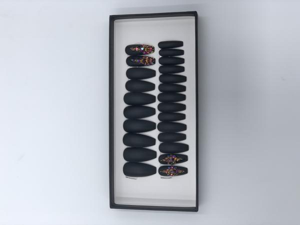 Set 24 unghii false autoadezive tip cu adeziv, tipsuri balerina, cu model Negru mat Dimond 1