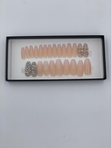 Set 24 unghii false autoadezive tip cu adeziv, tipsuri balerina, cu model Glossy Nude Dimond 1