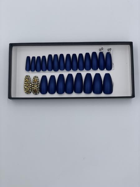 Set 24 unghii false autoadezive tip cu adeziv, tipsuri balerina, cu model Albastru mat Dimond 1